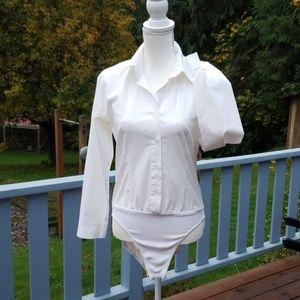 MICHAEL ALEXANDER Bodysuit white button-down XS